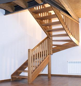 Escaleras en madera laminada encolada for Escaleras en forma de u