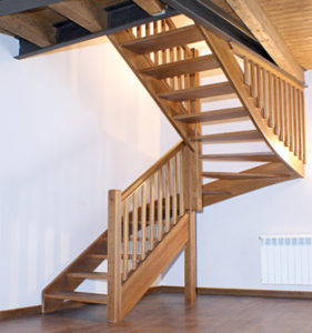 Escaleras en madera laminada encolada wood for Escalera madera 2 tramos